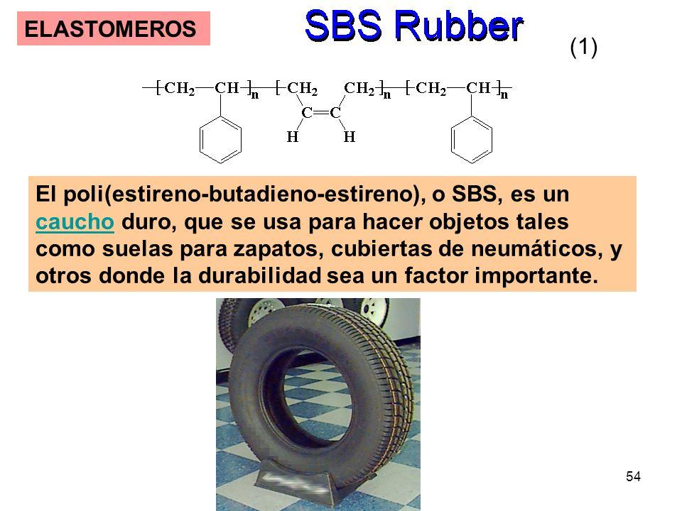 54 ELASTOMEROS El poli(estireno-butadieno-estireno), o SBS, es un caucho duro, que se usa para hacer objetos tales como suelas para zapatos, cubiertas