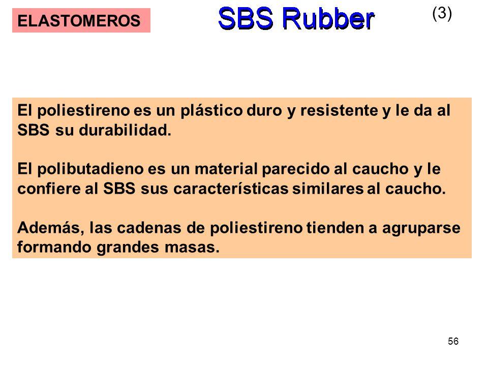 56 ELASTOMEROS El poliestireno es un plástico duro y resistente y le da al SBS su durabilidad. El polibutadieno es un material parecido al caucho y le