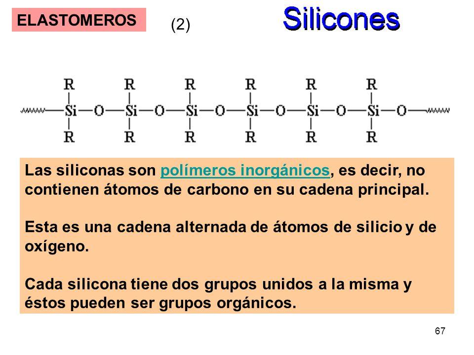 67 ELASTOMEROS Las siliconas son polímeros inorgánicos, es decir, no contienen átomos de carbono en su cadena principal.polímeros inorgánicos Esta es