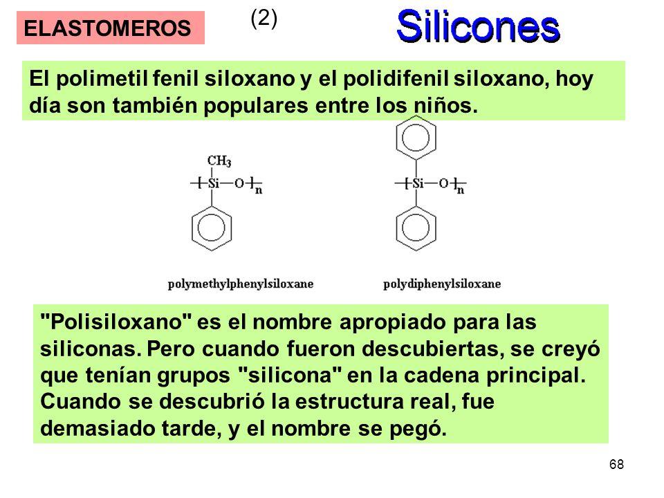 68 ELASTOMEROS (2) El polimetil fenil siloxano y el polidifenil siloxano, hoy día son también populares entre los niños.