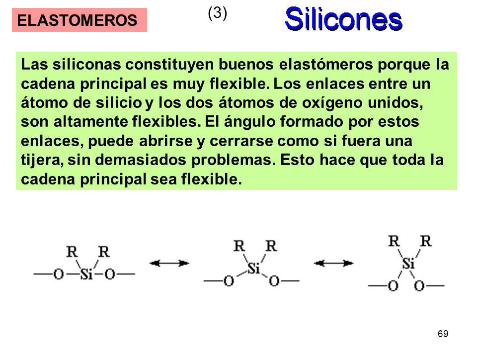 69 ELASTOMEROS Las siliconas constituyen buenos elastómeros porque la cadena principal es muy flexible. Los enlaces entre un átomo de silicio y los do