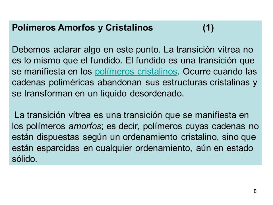 8 Polímeros Amorfos y Cristalinos (1) Debemos aclarar algo en este punto. La transición vítrea no es lo mismo que el fundido. El fundido es una transi