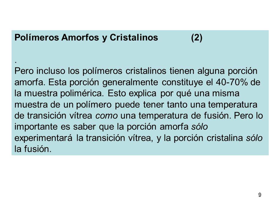 9 Polímeros Amorfos y Cristalinos (2). Pero incluso los polímeros cristalinos tienen alguna porción amorfa. Esta porción generalmente constituye el 40
