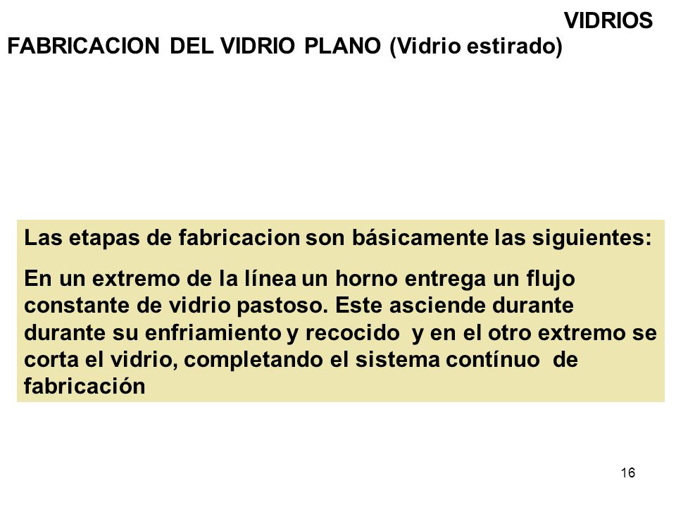 16 VIDRIOS FABRICACION DEL VIDRIO PLANO (Vidrio estirado) Las etapas de fabricacion son básicamente las siguientes: En un extremo de la línea un horno