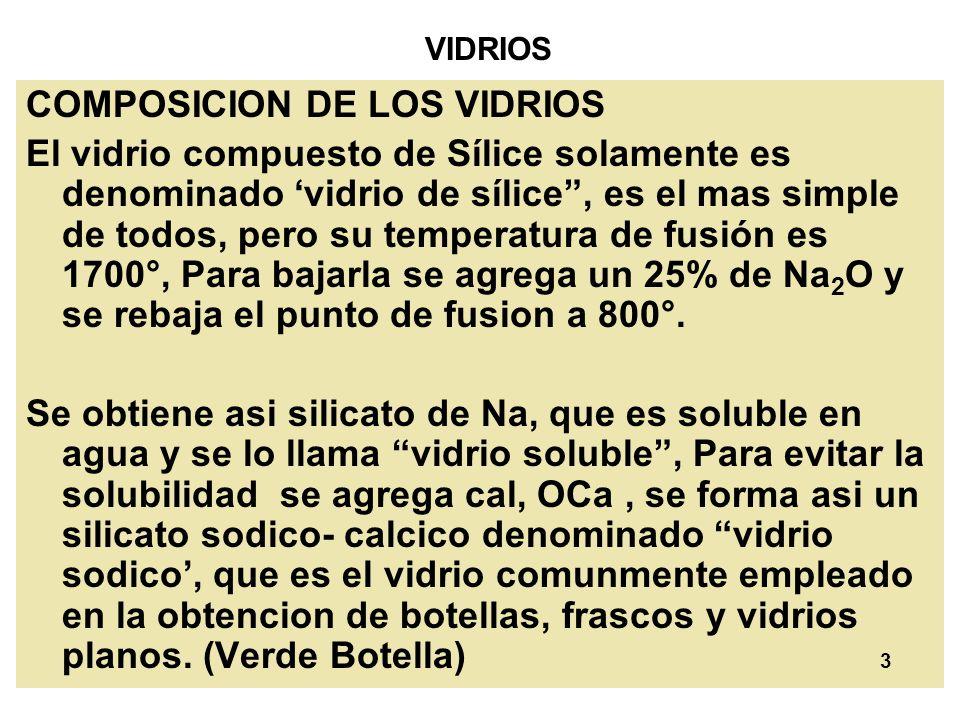 3 VIDRIOS COMPOSICION DE LOS VIDRIOS El vidrio compuesto de Sílice solamente es denominado vidrio de sílice, es el mas simple de todos, pero su temper