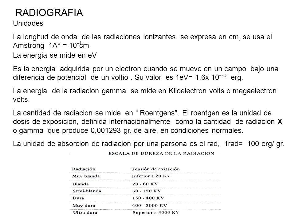 RADIOGRAFIA Unidades La longitud de onda de las radiaciones ionizantes se expresa en cm, se usa el Amstrong 1A° = 10ˉcm 8 La energia se mide en eV Es