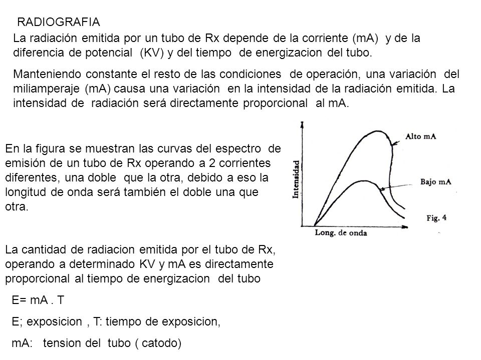 RADIOGRAFIA La radiación emitida por un tubo de Rx depende de la corriente (mA) y de la diferencia de potencial (KV) y del tiempo de energizacion del