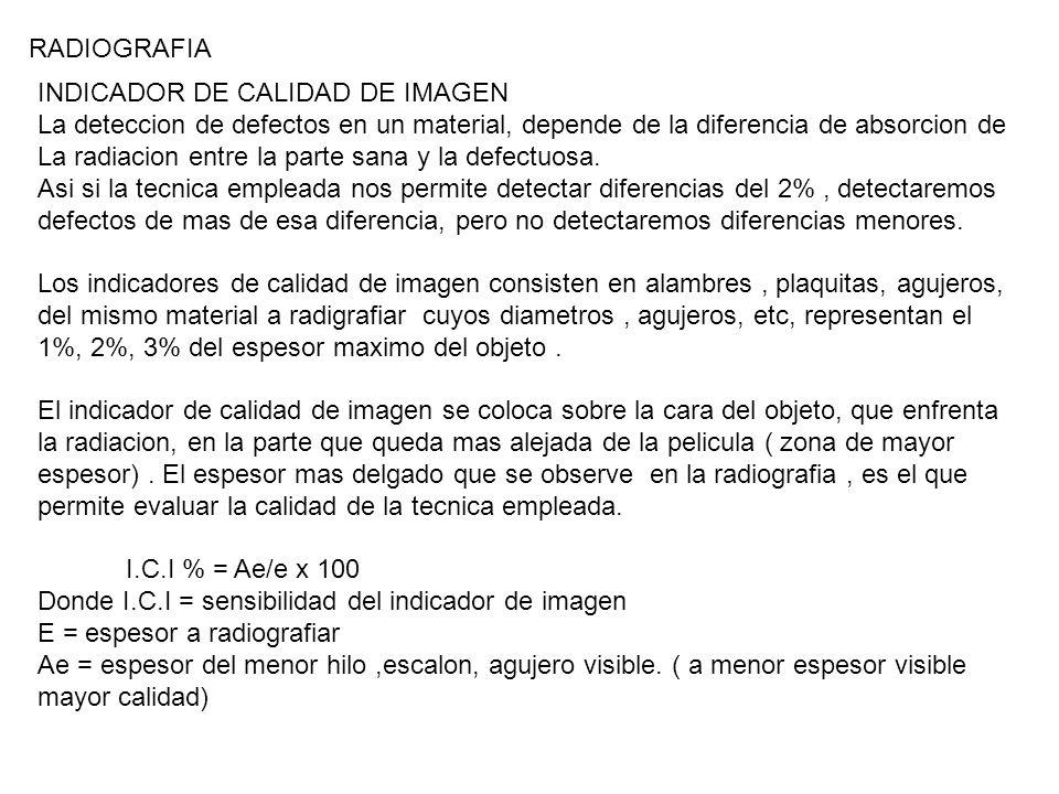 INDICADOR DE CALIDAD DE IMAGEN La deteccion de defectos en un material, depende de la diferencia de absorcion de La radiacion entre la parte sana y la