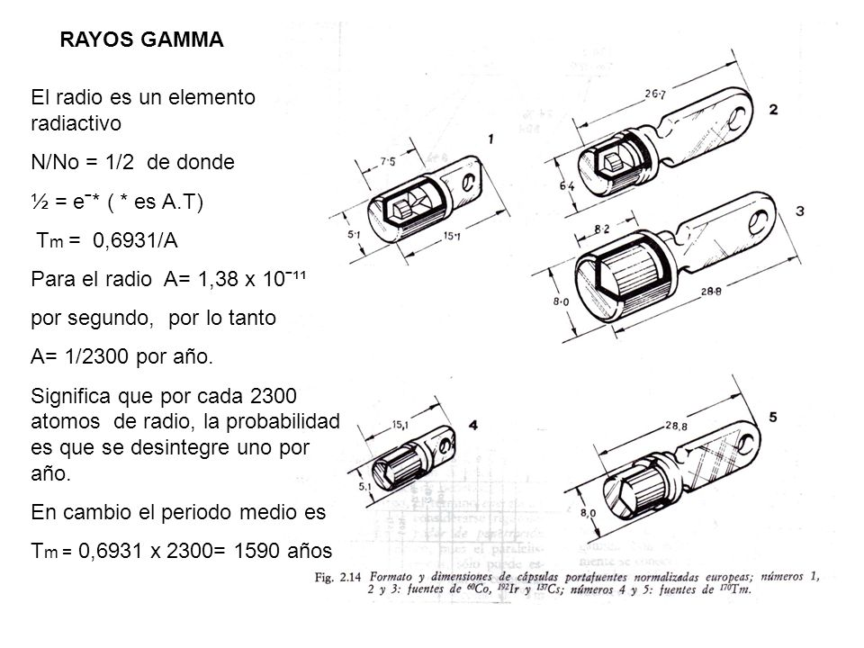 RAYOS GAMMA El radio es un elemento radiactivo N/No = 1/2 de donde ½ = e ˉ* ( * es A.T) T m = 0,6931/A Para el radio A= 1,38 x 10ˉ¹¹ por segundo, por