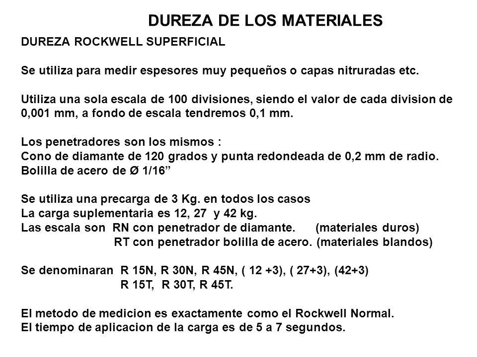 DUREZA DE LOS MATERIALES DUREZA ROCKWELL SUPERFICIAL Se utiliza para medir espesores muy pequeños o capas nitruradas etc. Utiliza una sola escala de 1