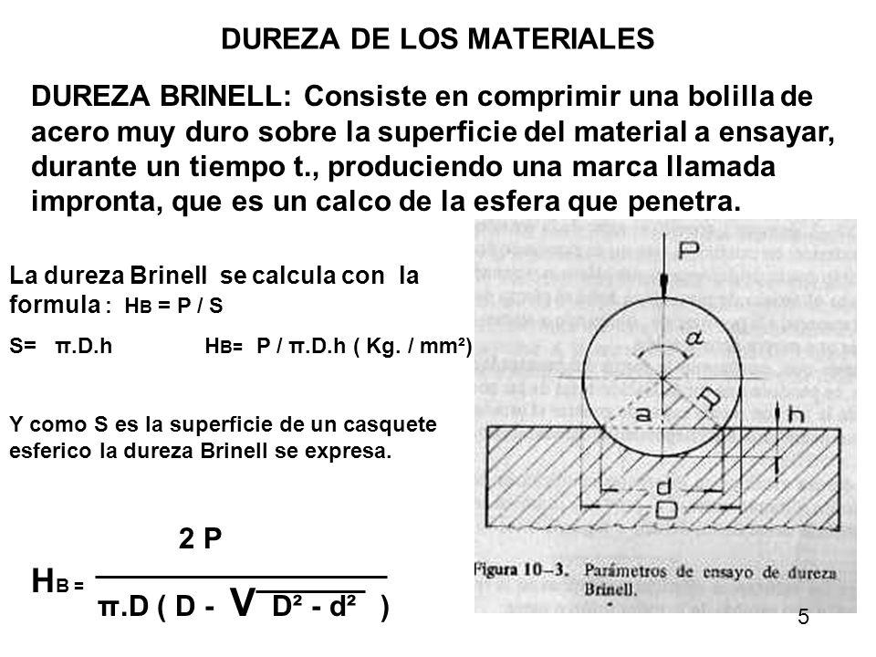 DUREZA DE LOS MATERIALES DUREZA BRINELL: Consiste en comprimir una bolilla de acero muy duro sobre la superficie del material a ensayar, durante un ti
