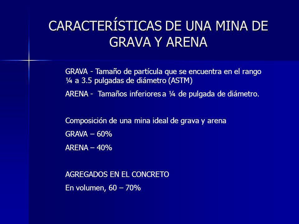 CARACTERÍSTICAS DE UNA MINA DE GRAVA Y ARENA GRAVA - Tamaño de partícula que se encuentra en el rango ¼ a 3.5 pulgadas de diámetro (ASTM) ARENA - Tama