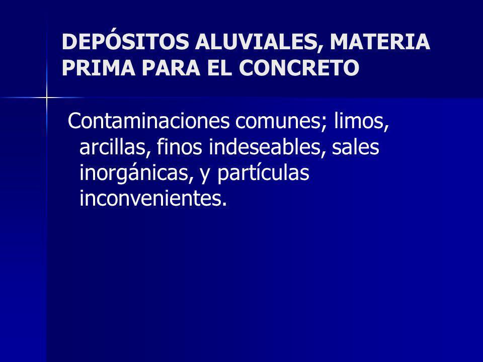 DEPÓSITOS ALUVIALES, MATERIA PRIMA PARA EL CONCRETO Contaminaciones comunes; limos, arcillas, finos indeseables, sales inorgánicas, y partículas incon