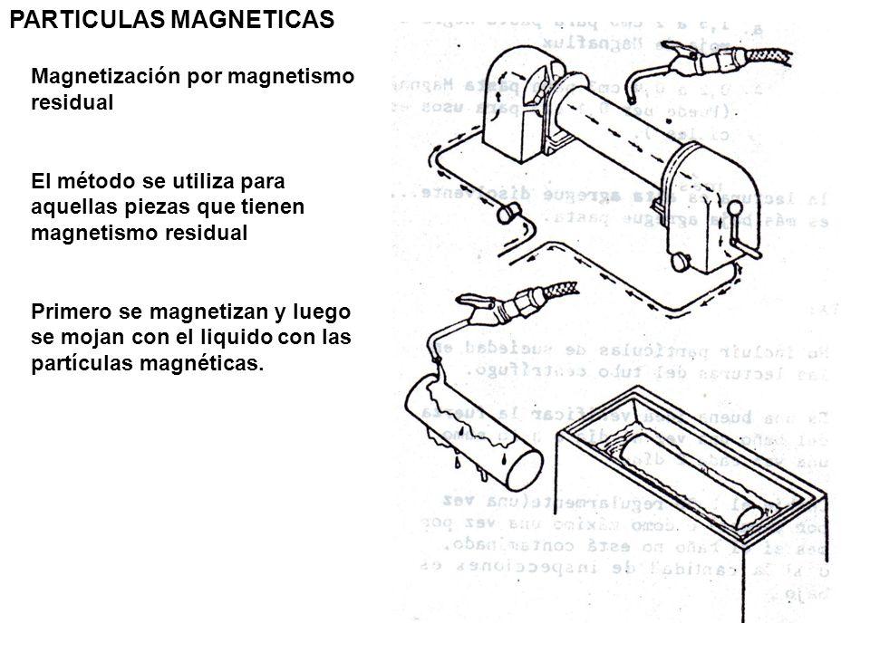 PARTICULAS MAGNETICAS Magnetización por magnetismo residual El método se utiliza para aquellas piezas que tienen magnetismo residual Primero se magnet