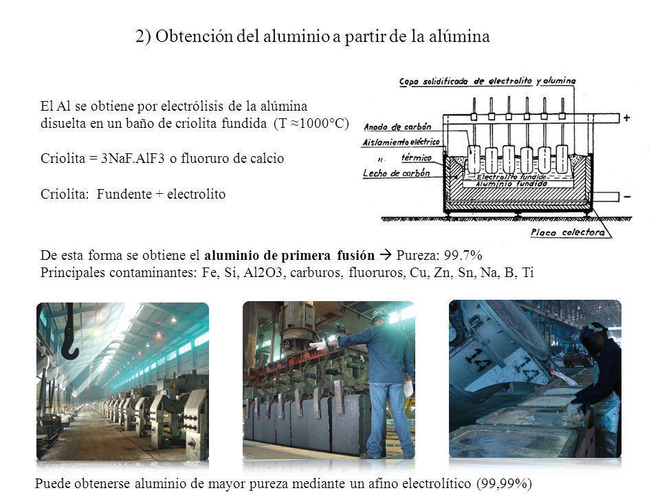 2) Obtención del aluminio a partir de la alúmina El Al se obtiene por electrólisis de la alúmina disuelta en un baño de criolita fundida (T 1000°C) Cr