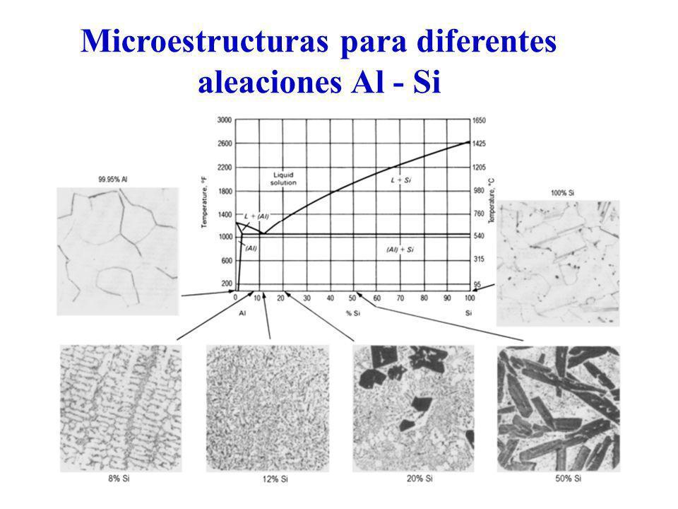 Microestructuras para diferentes aleaciones Al - Si