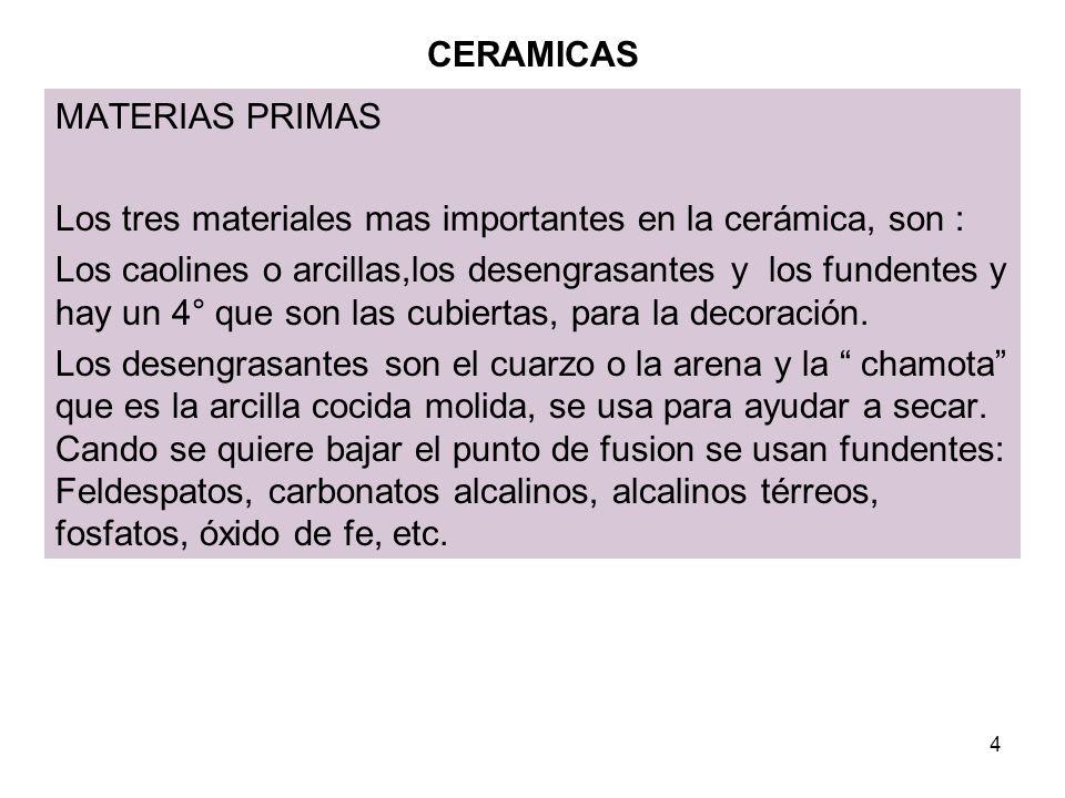5 CERAMICAS Recepción y almacenaje Los materiales se reciben a granel, arcillas, cuarzo, feldespato.