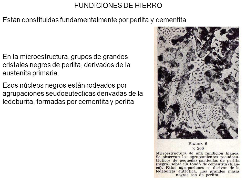 4 FUNDICIONES DE HIERRO Las fundiciones blancas hipereutecticas, tienen muy poco interés industrial, están formadas por grandes masas de cementita primaria y agrupaciones de perlita y cementita derivadas de la ledeburita.