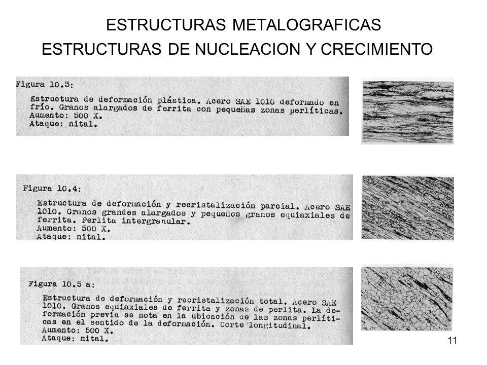 11 ESTRUCTURAS METALOGRAFICAS ESTRUCTURAS DE NUCLEACION Y CRECIMIENTO