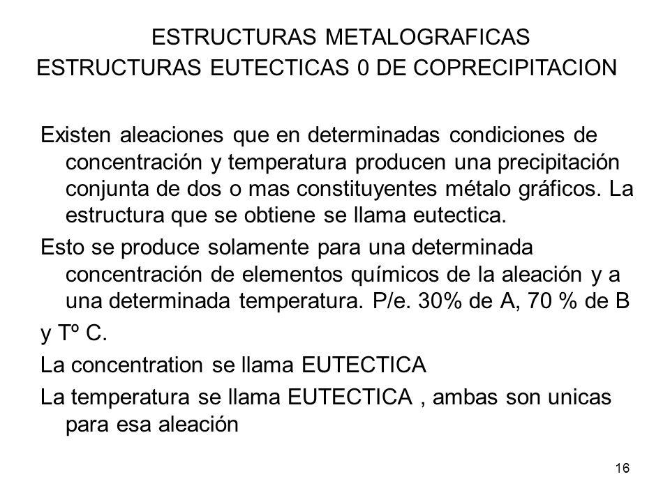 16 ESTRUCTURAS METALOGRAFICAS ESTRUCTURAS EUTECTICAS 0 DE COPRECIPITACION Existen aleaciones que en determinadas condiciones de concentración y temper