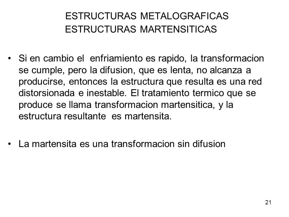 21 ESTRUCTURAS METALOGRAFICAS ESTRUCTURAS MARTENSITICAS Si en cambio el enfriamiento es rapido, la transformacion se cumple, pero la difusion, que es