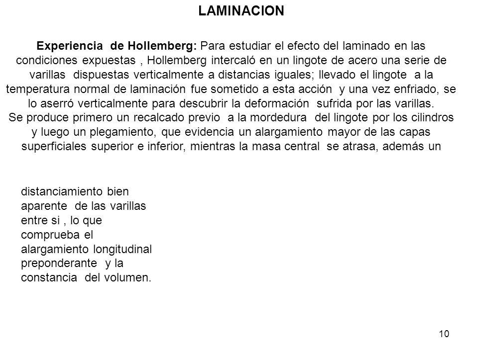 10 LAMINACION Experiencia de Hollemberg: Para estudiar el efecto del laminado en las condiciones expuestas, Hollemberg intercaló en un lingote de acer