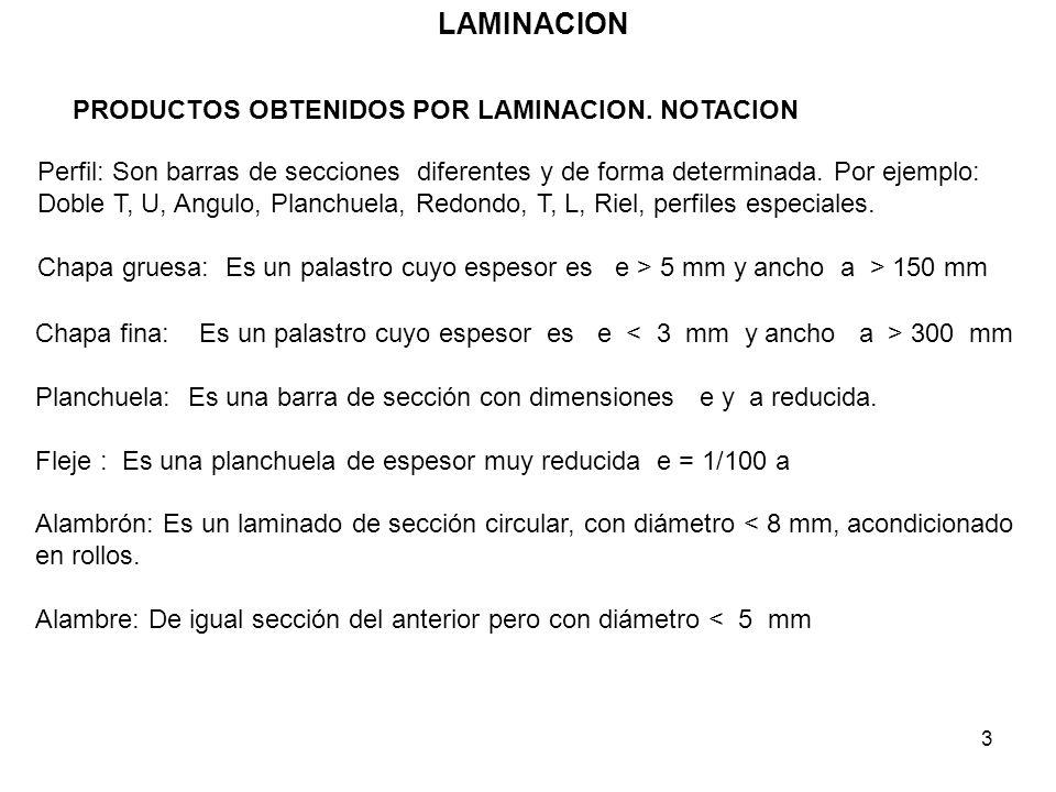 3 LAMINACION Chapa fina: Es un palastro cuyo espesor es e 300 mm Planchuela: Es una barra de sección con dimensiones e y a reducida. Fleje : Es una pl