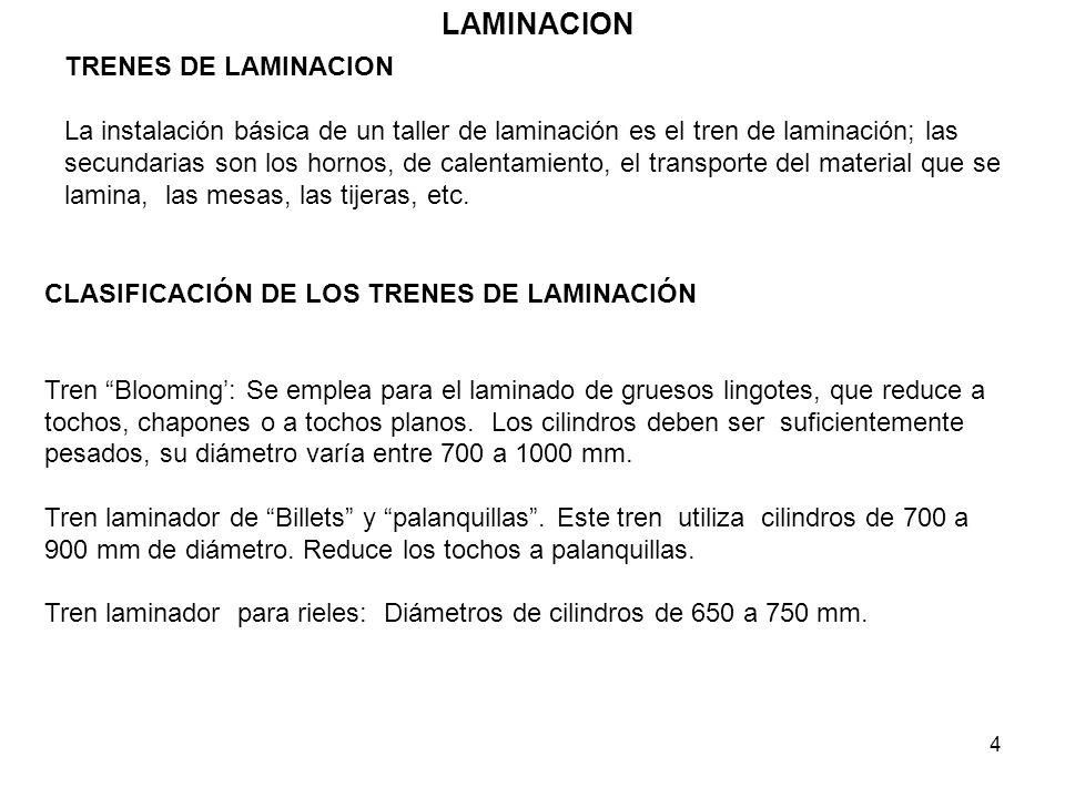 4 LAMINACION TRENES DE LAMINACION La instalación básica de un taller de laminación es el tren de laminación; las secundarias son los hornos, de calent