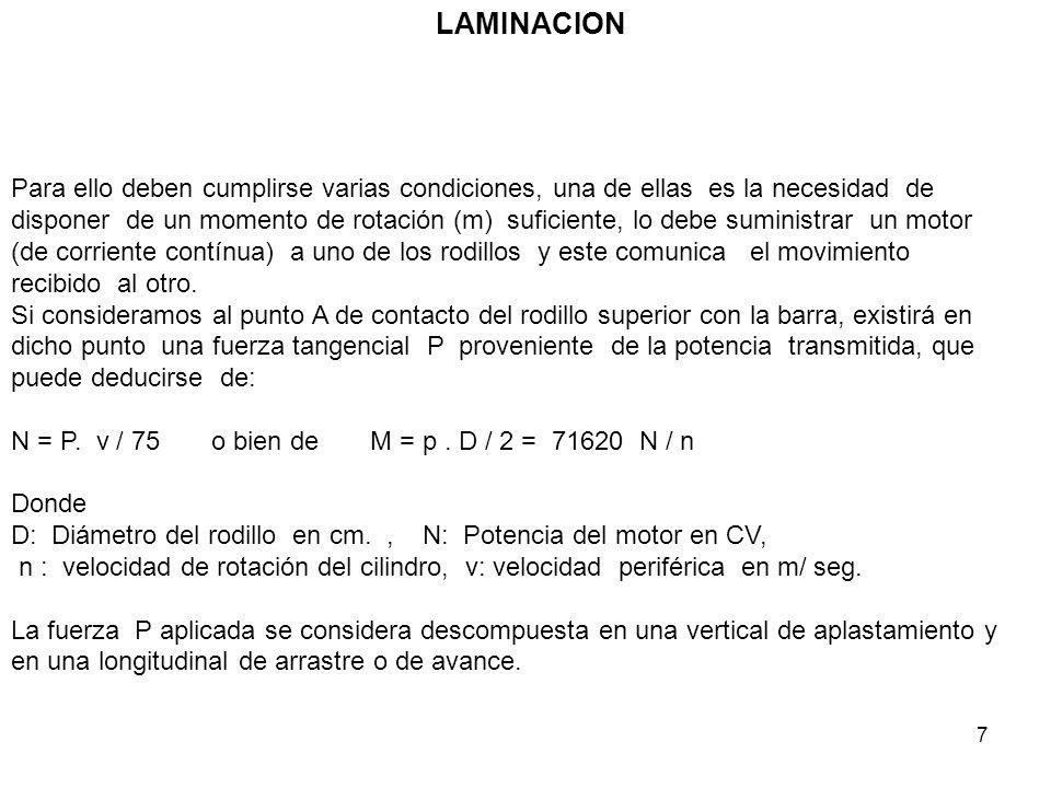 7 LAMINACION Para ello deben cumplirse varias condiciones, una de ellas es la necesidad de disponer de un momento de rotación (m) suficiente, lo debe