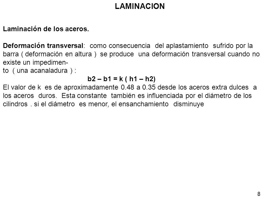 8 LAMINACION Laminación de los aceros. Deformación transversal: como consecuencia del aplastamiento sufrido por la barra ( deformación en altura ) se