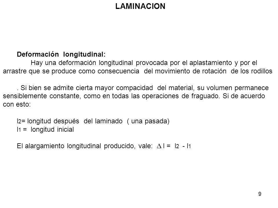 9 LAMINACION Deformación longitudinal: Hay una deformación longitudinal provocada por el aplastamiento y por el arrastre que se produce como consecuen