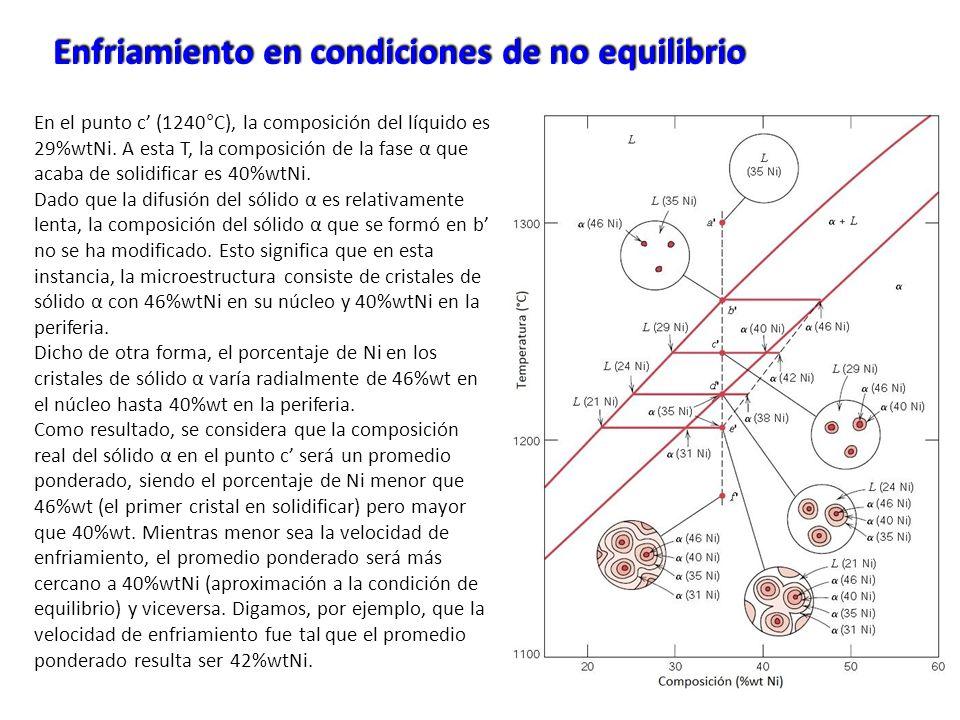 Enfriamiento en condiciones de no equilibrio En el punto c (1240°C), la composición del líquido es 29%wtNi. A esta T, la composición de la fase α que