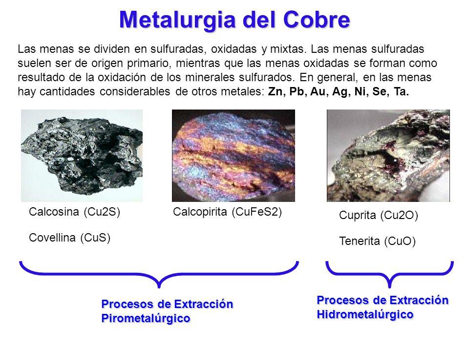 Metalurgia del Cobre Las menas se dividen en sulfuradas, oxidadas y mixtas. Las menas sulfuradas suelen ser de origen primario, mientras que las menas