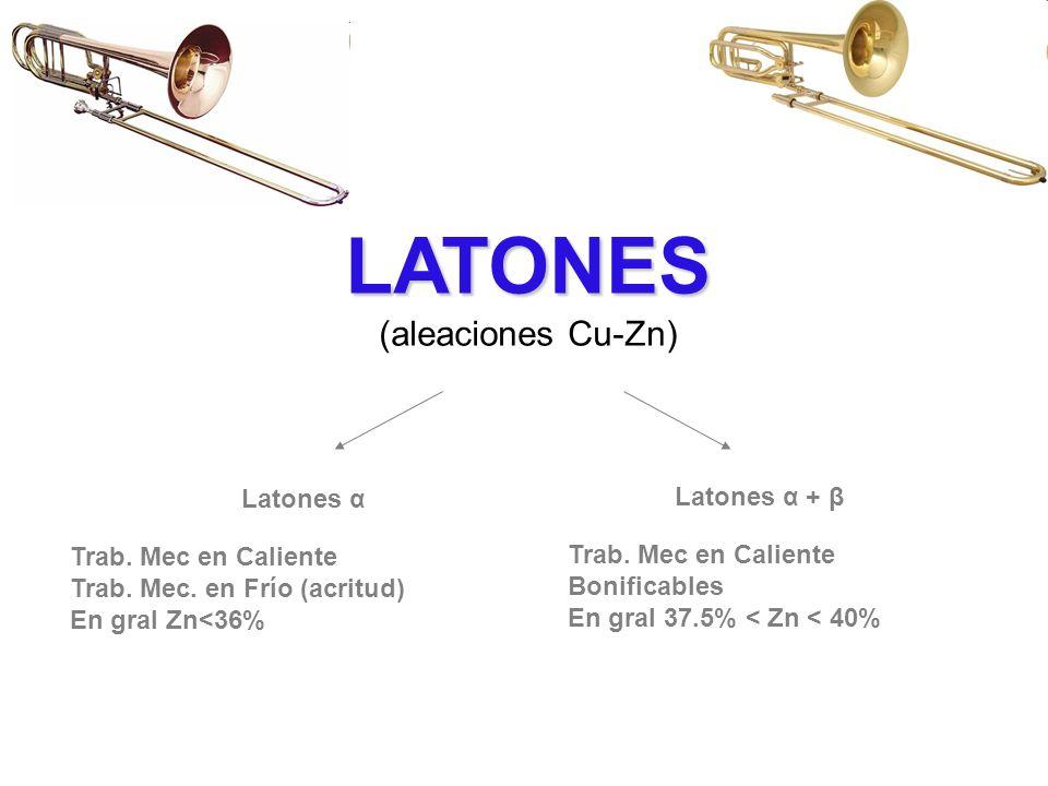 LATONES (aleaciones Cu-Zn) Latones α Latones α + β Trab. Mec en Caliente Trab. Mec. en Frío (acritud) En gral Zn<36% Trab. Mec en Caliente Bonificable