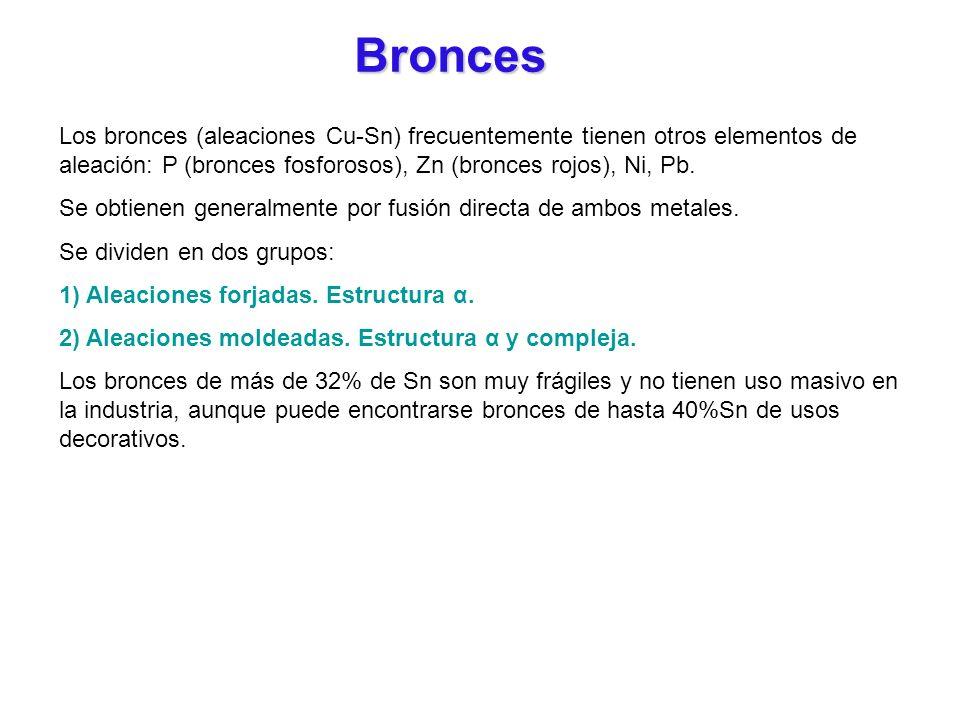 Bronces Los bronces (aleaciones Cu-Sn) frecuentemente tienen otros elementos de aleación: P (bronces fosforosos), Zn (bronces rojos), Ni, Pb. Se obtie
