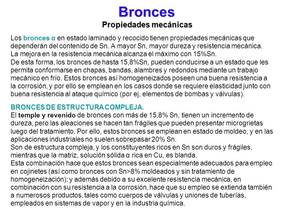 Bronces Propiedades mecánicas Los bronces α en estado laminado y recocido tienen propiedades mecánicas que dependerán del contenido de Sn. A mayor Sn,