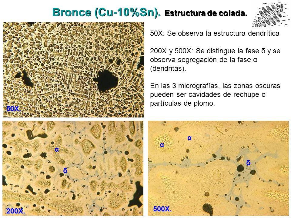 Bronce (Cu-10%Sn). Estructura de colada. 50X. 200X. 50X: Se observa la estructura dendrítica 200X y 500X: Se distingue la fase δ y se observa segregac