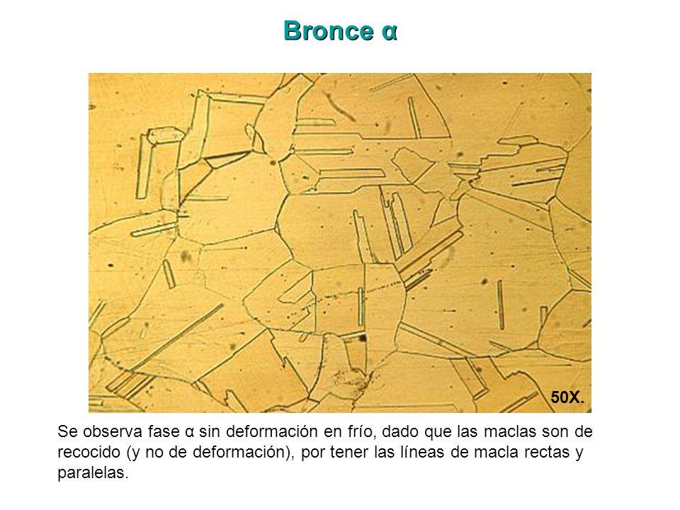 Bronce α Se observa fase α sin deformación en frío, dado que las maclas son de recocido (y no de deformación), por tener las líneas de macla rectas y