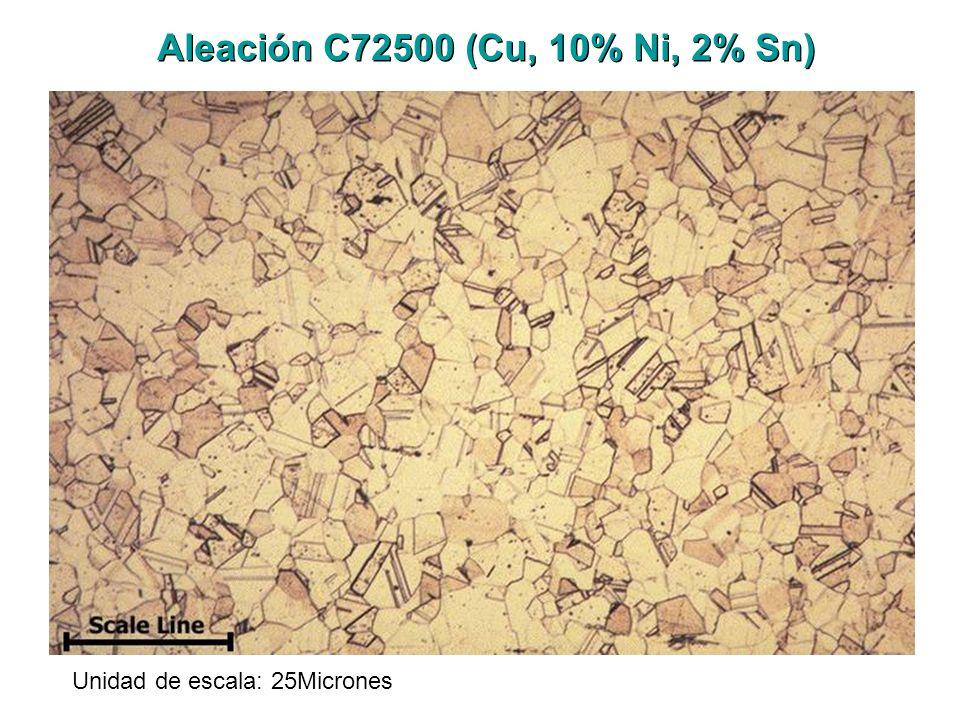 Unidad de escala: 25Micrones Aleación C72500 (Cu, 10% Ni, 2% Sn)