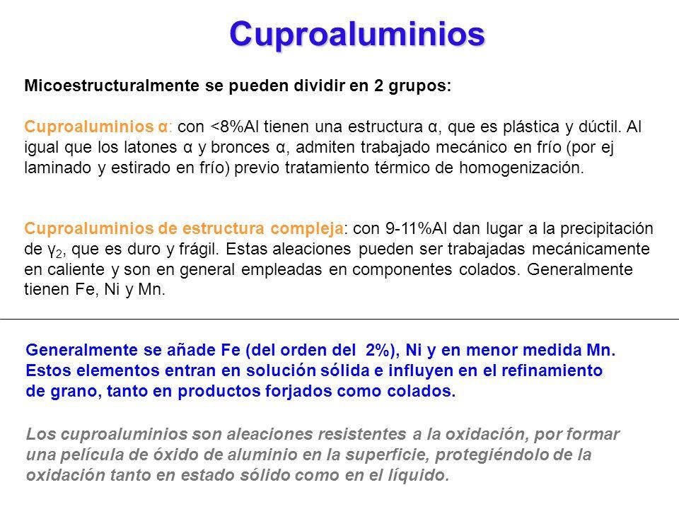 Micoestructuralmente se pueden dividir en 2 grupos: Cuproaluminios α: con <8%Al tienen una estructura α, que es plástica y dúctil. Al igual que los la
