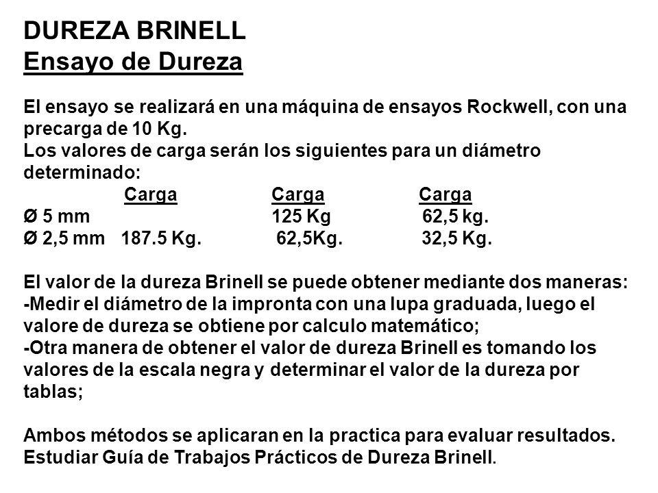 DUREZA BRINELL Ensayo de Dureza El ensayo se realizará en una máquina de ensayos Rockwell, con una precarga de 10 Kg. Los valores de carga serán los s