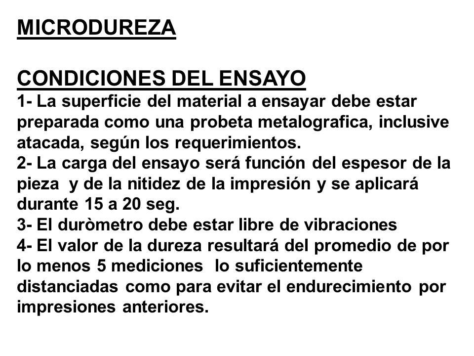 MICRODUREZA CONDICIONES DEL ENSAYO 1- La superficie del material a ensayar debe estar preparada como una probeta metalografica, inclusive atacada, seg