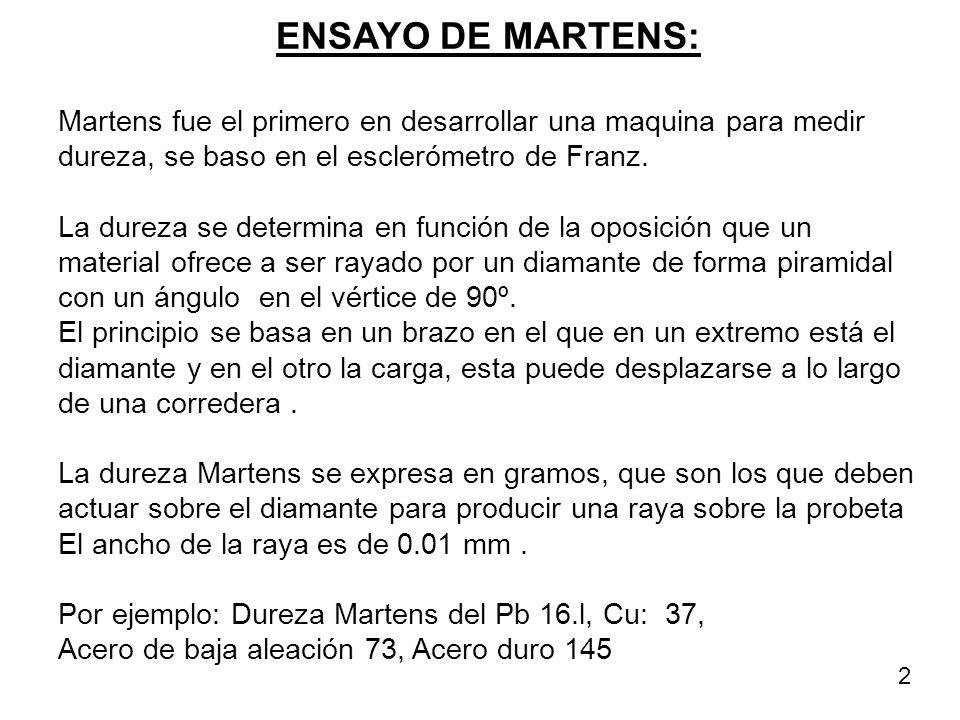 ENSAYO DE MARTENS: Martens fue el primero en desarrollar una maquina para medir dureza, se baso en el esclerómetro de Franz. La dureza se determina en