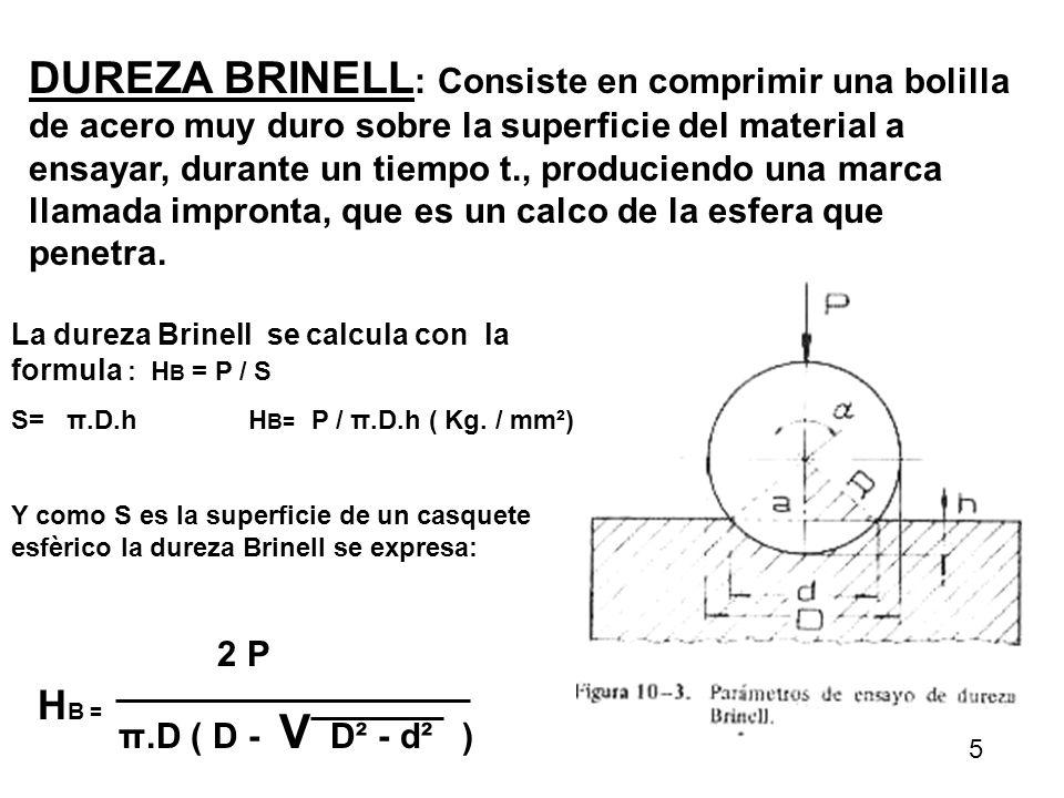 DUREZA BRINELL : Consiste en comprimir una bolilla de acero muy duro sobre la superficie del material a ensayar, durante un tiempo t., produciendo una