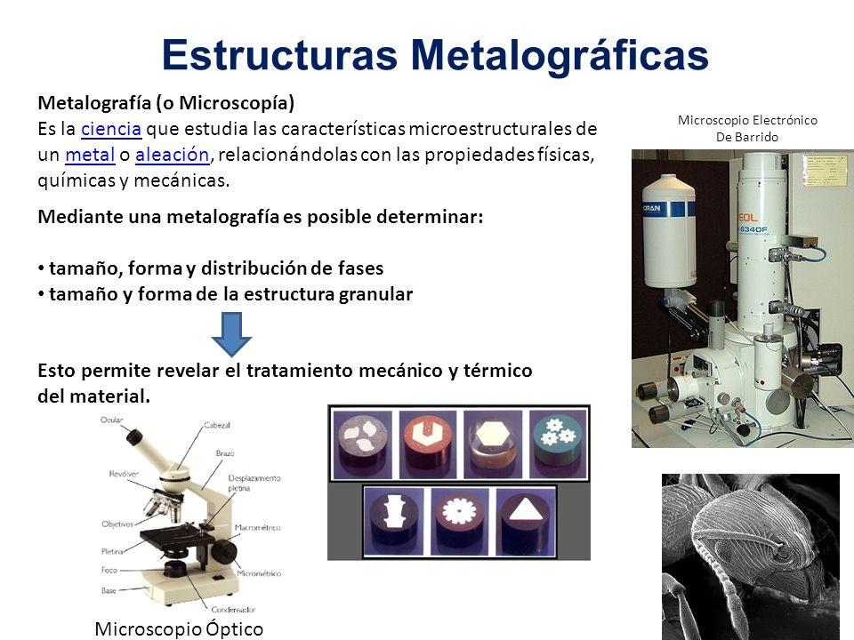 Estructuras Metalográficas Metalografía (o Microscopía) Es la ciencia que estudia las características microestructurales de un metal o aleación, relac