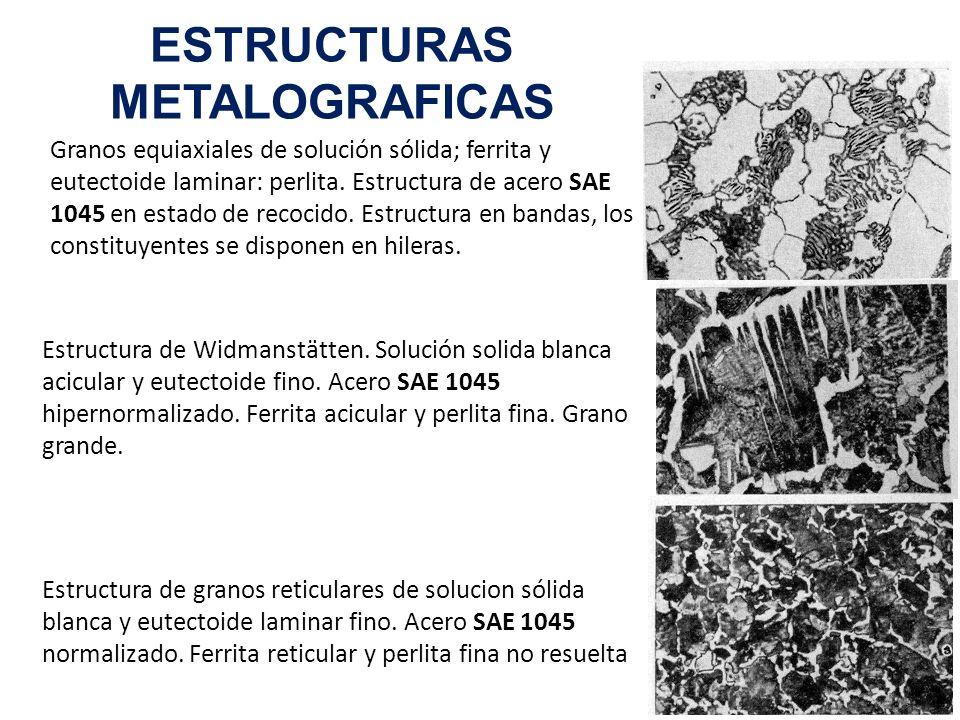 ESTRUCTURAS METALOGRAFICAS Granos equiaxiales de solución sólida; ferrita y eutectoide laminar: perlita. Estructura de acero SAE 1045 en estado de rec