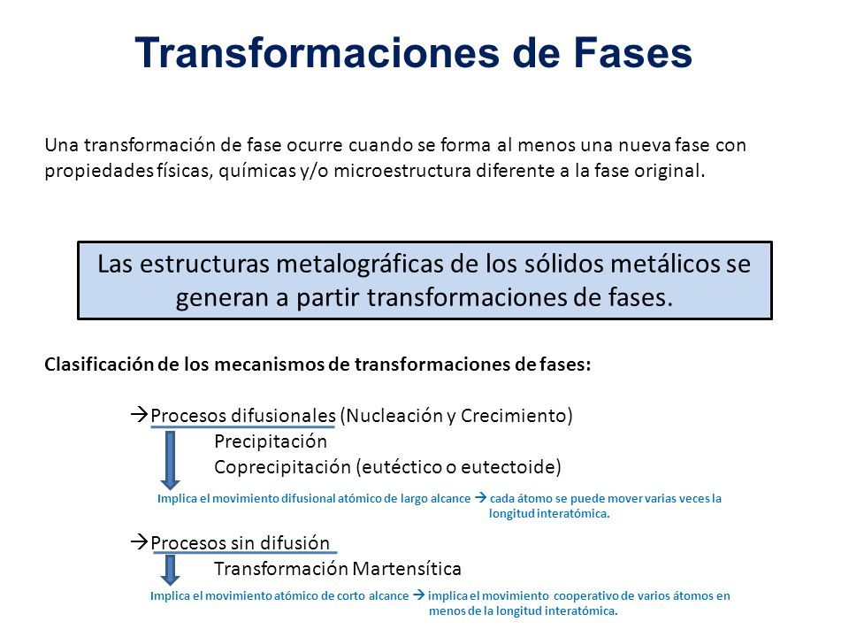 Una transformación de fase ocurre cuando se forma al menos una nueva fase con propiedades físicas, químicas y/o microestructura diferente a la fase or