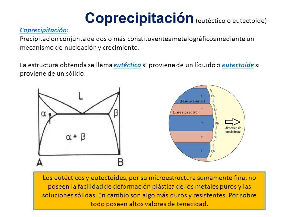 Coprecipitación (eutéctico o eutectoide) Coprecipitación: Precipitación conjunta de dos o más constituyentes metalográficos mediante un mecanismo de n