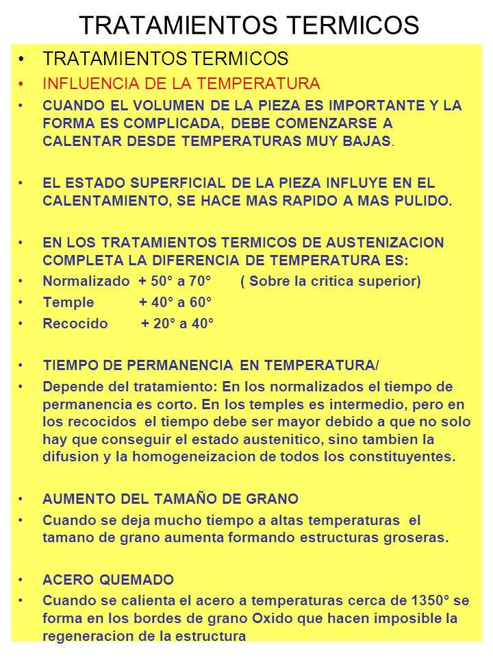 INFLUENCIA DE LA TEMPERATURA CUANDO EL VOLUMEN DE LA PIEZA ES IMPORTANTE Y LA FORMA ES COMPLICADA, DEBE COMENZARSE A CALENTAR DESDE TEMPERATURAS MUY B