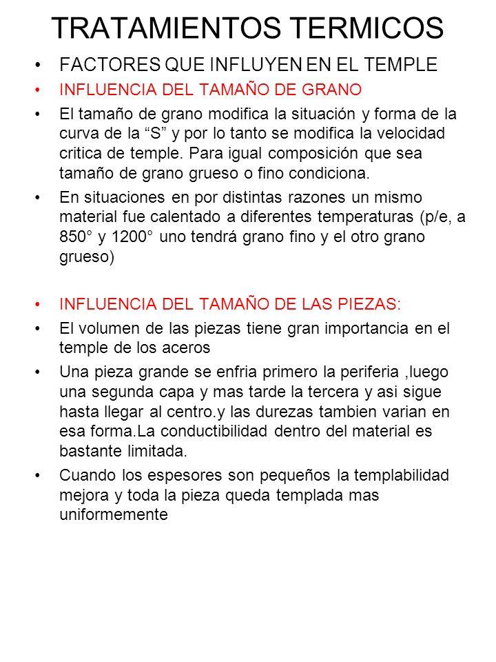TRATAMIENTOS TERMICOS FACTORES QUE INFLUYEN EN EL TEMPLE INFLUENCIA DEL TAMAÑO DE GRANO El tamaño de grano modifica la situación y forma de la curva d